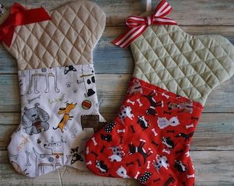 Dog Christmas Stocking ~ Bone Shape Dog Stocking ~ Holiday Treat Pocket