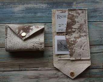 Bi Fold Leather Wallet ~ Multi Colored Hide Bi Fold Wallet ~ Credit Card Wallet ~ Snap Closure ~ Raw Leather Wallet ~ Cash Leather Wallet