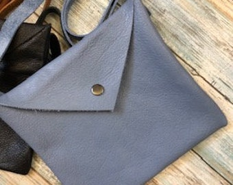 Soft Square Leather Purse / Cross Body Bag / Leather Pouch / Snap Closure / Hippy Strap Pouch