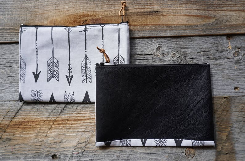 Leather /& Cotton Zippered Pouch ~ School Pouch ~ Cell phone Pouch ~ Travel Pouch ~ Make Up Pouch