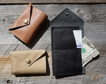 Bi Fold Leather Wallet ~ Credit Card Wallet ~ Snap Closure