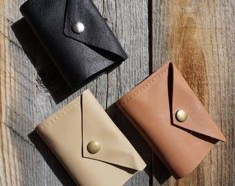 Bi Fold Leather Wallet ~ Credit Card Wallet ~ Snap Closure ~ Gift Wallet