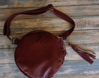 Round Leather Fanny Pack, Convertible Crossbody Bag, Round Leather Purse