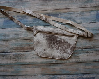 Leather Fanny Belt ~ White Speckled Hide Fanny Pack ~ Music Concert Belt  ~ Concert Belt ~ Leather Bum Bag ~ Also N Black Leather Fanny Pack