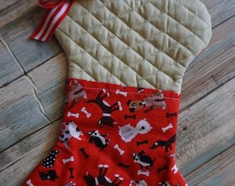 Bone Shaped Christmas Dog Stocking / Dog Treat Pocket / Pet Christmas Stocking