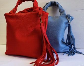 Leather Bucket Bag, Leather Purse, Handbag, Leather everyday purse, Bucket Bag