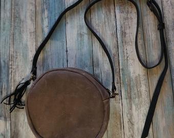 Crossbody Leather Round Purse, Round Distressed Leather Purse, Natural Leather Round Purse