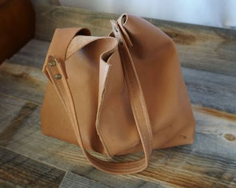 Soft Leather Sloughy Tote ~ Raw Natural Look ~ Carmel color / Bag for everyday