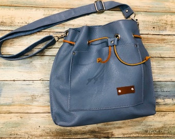 Leather Tote Bag, Drawstring Shoulder Bag, Leather Purse, Crossbody Leather Pouch/Bag, Hobo Leather Tote