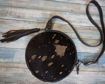 Hair on Leather Convertible Crossbody Bag, Round Leather Purse, Round Leather Fanny Pack, Fur Leather Bag