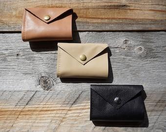 SAMPLE SALE - Bi Fold Leather Wallet ~ Credit Card Wallet ~ Snap Closure ~ Gift Wallet