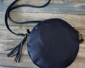 Round Leather Purse, Large Round Cross body Leather Purse