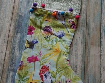Tropical Christmas Stockings ~ Flamingo Printed Stockings ~ Modern Mid Century Print Stockings