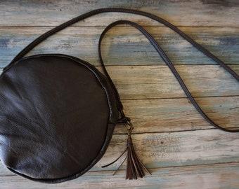 Round Leather Purse, Cross body Leather Purse