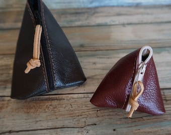Leather Coin Purse + Leather Air Bud Pouch Bundle - Money Coin Pouch + Ear Phone Leather Case