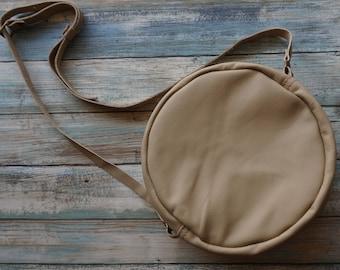 Soft Leather Round Purse, Raw Leather Crossbody Bag, Round Tan Cross body Bag