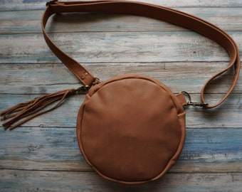 Leather Convertible Crossbody Bag, Round Leather Purse, Round Leather Fanny Pack