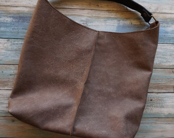 Soft Leather Tote ~ Raw Natural Leather Bag ~ Shopping Bag