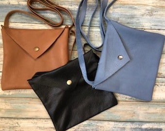 Soft Square Leather Purse with long strap / snap closure ~ Smartphone / iPhone, wallet and ID Bag / All you need to carry bag