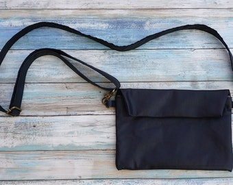 Leather Cross body Purse / Soft Leather Pouch / Convertible Bag ~ Purse to Fanny Waist Belt / Leather Fanny Pack /  Snap Flap Pouch