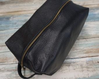 BlackLeather Dopp Kit, Travel Toiletry Bag, Travel Bathroom Bag
