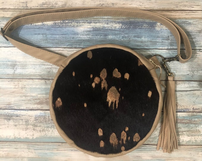 Featured listing image: Hair on Leather Convertible Crossbody Bag, Round Leather Purse, Round Leather Fanny Pack, Fur Leather Bag