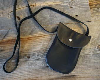 Soft Black Leather Pouch with long strap / snap closure ~ iPhone 7 Plus and ID Bag / Cell phone bag