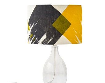 Drum lampshade in a geometric brushstroke design: grey yellow // scandi style design on natural linen