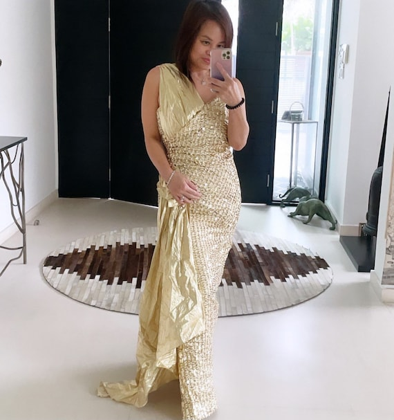 Glamorous Gold Sequinned Grecian Gown
