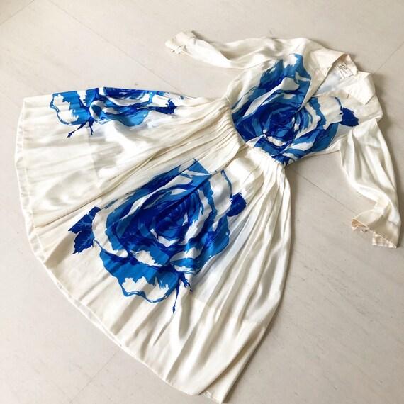 Amazing 1950s Blue Rose Silk Shirt Dress