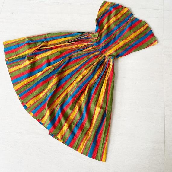 Rainbow Measuring Tape Novelty Print 50s Dress
