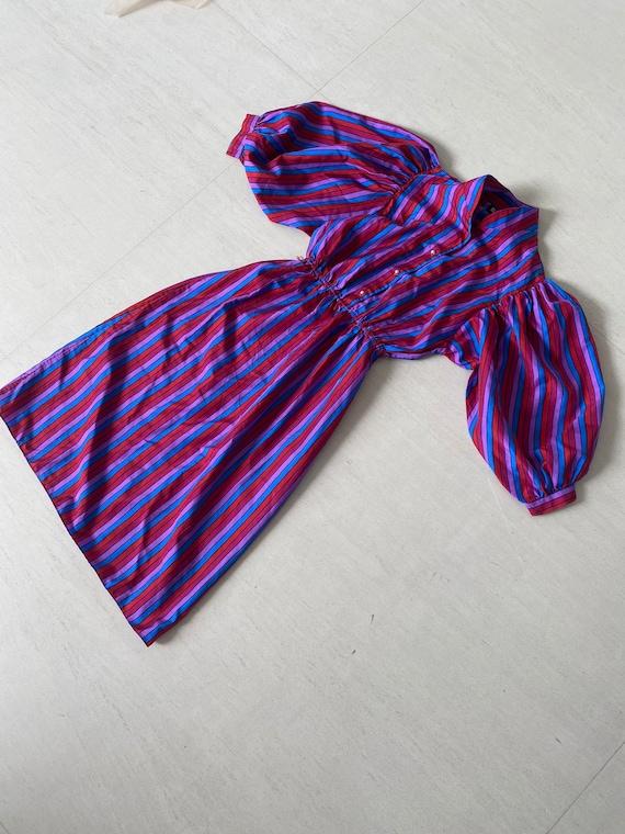 Sassy 70s Striped Secretary Dress with Huge Balloo