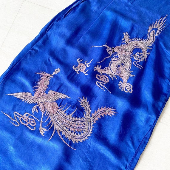 Amazing Embroidered Dragon Phoenix 40s Dress - image 3