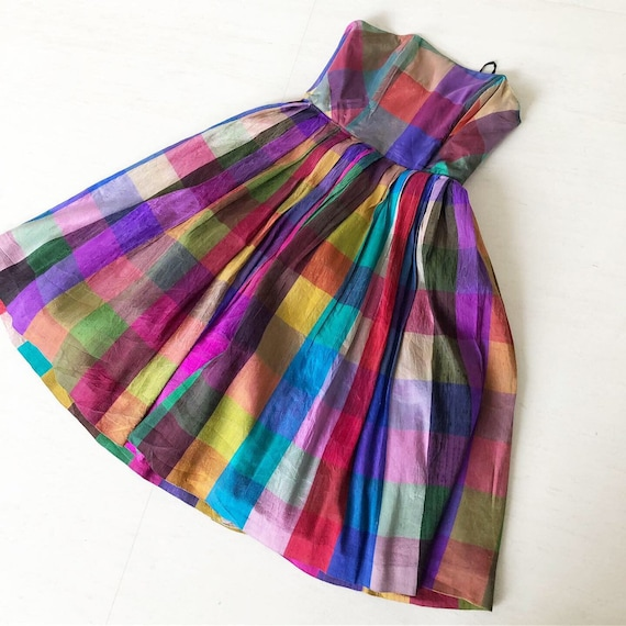 Gorgrous Rainbow Plaid Thai Silk Dress