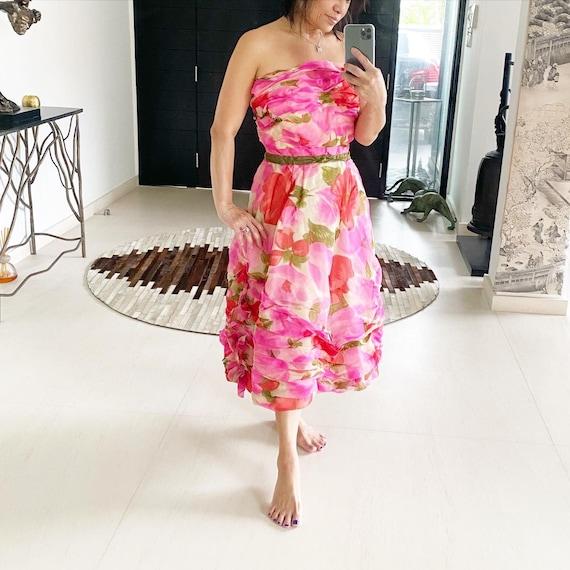 Breathtaking Floral Bustier Pleated Dress