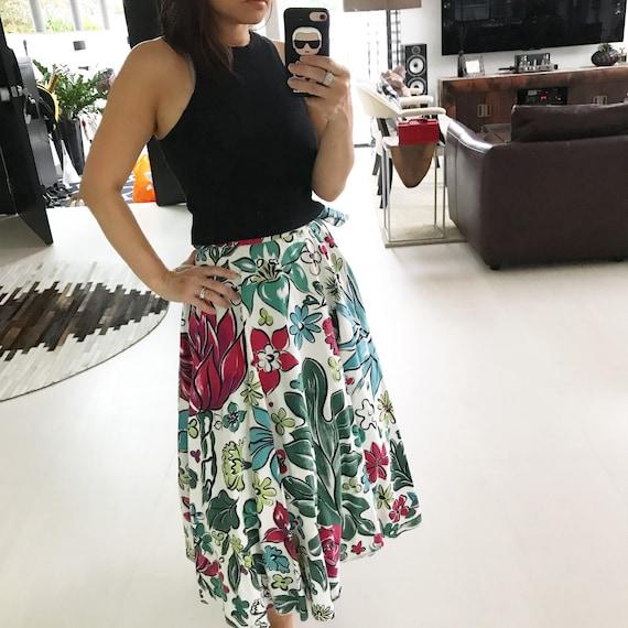 Gorgeous 1950s floral barkcloth circle skirt