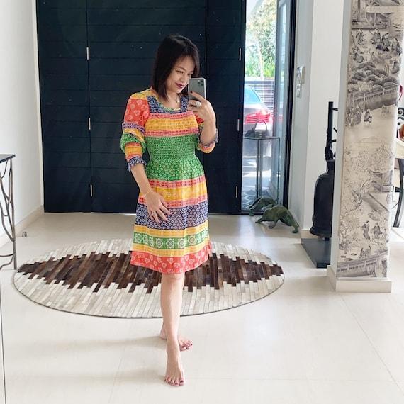 Glorious Rainbow Shirred Indian Cotton Dress