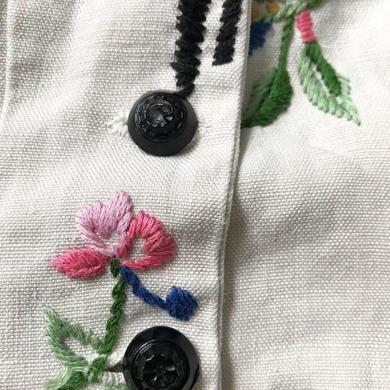 Rare 1930s Linen Embroidery Peplum Blouse - image 6