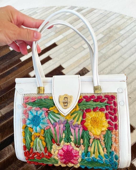 Pretty Straw Leather Floral Bag