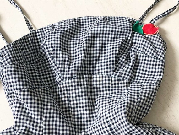 Gorgeous Gingham Cherry Applique 1950s Dress with
