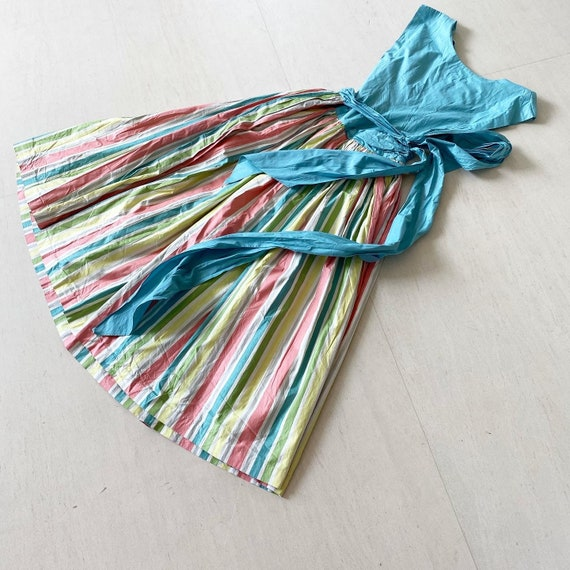Pretty Pastel Rainbow Striped Dress - image 7