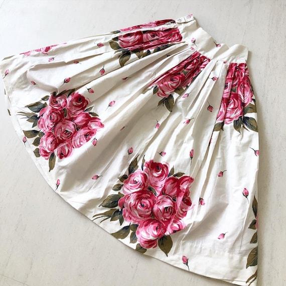 Pretty 50s Rose Print Skirt