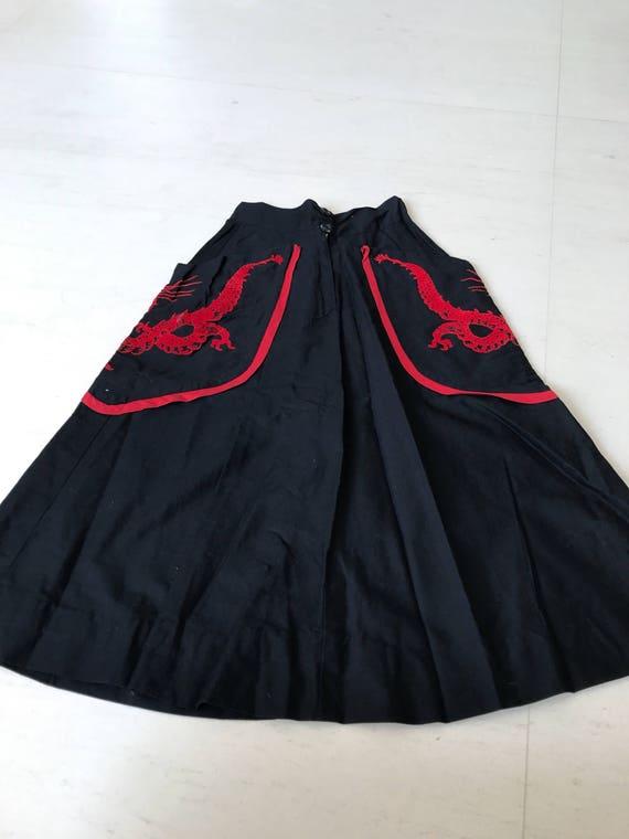 Amazing 1950s dragon applique skirt