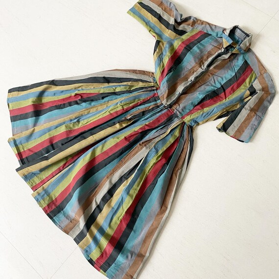 Autumn Cool Rainbow Striped 50s Silk Shirtdress