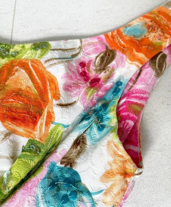 Pretty 50s Textured Cotton Floral Cocktail Dress - image 3