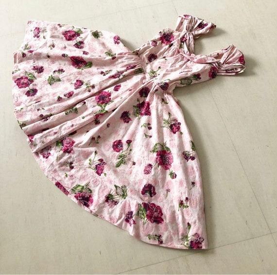 Pretty Flocked Rose Print Dress (L)
