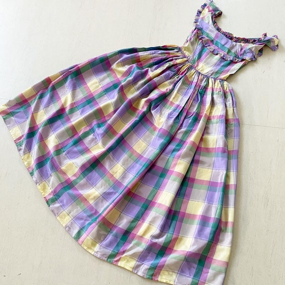 Pretty 40s Pastel Plaid Maxi Dress - image 6