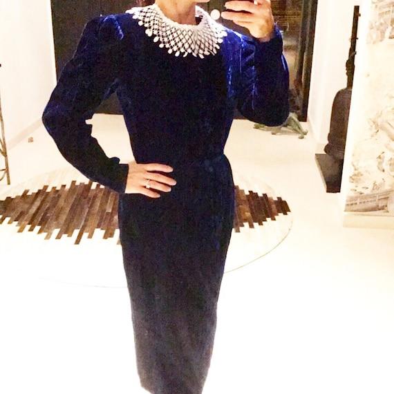 Lanz Royal Blue Velvet Dress with Detachable Lace