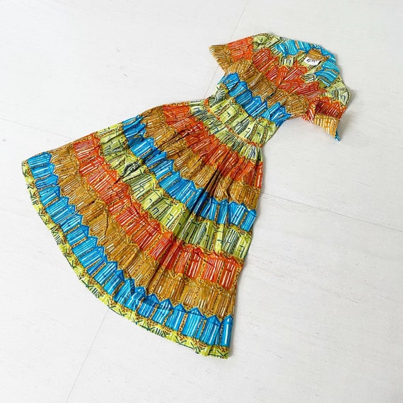 Pretty Rainbow Colored Sketched Houses Dress