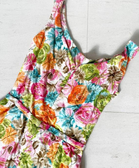 Pretty 50s Textured Cotton Floral Cocktail Dress - image 9
